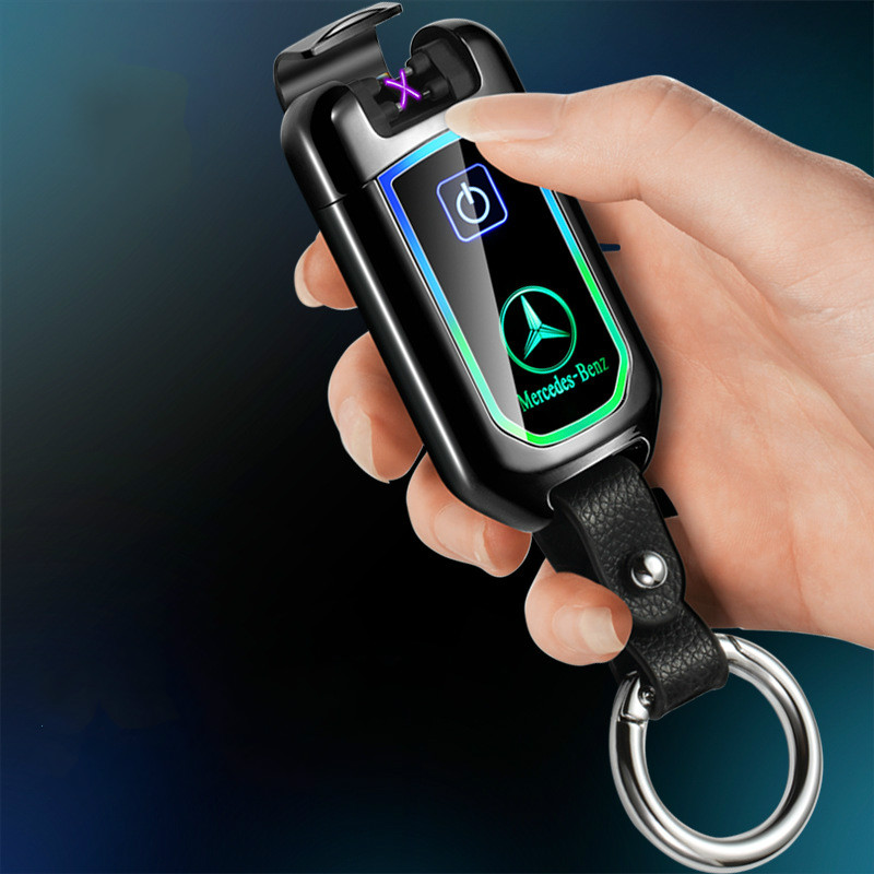 Ev ve Bahçe'ten Sigara Aksesuarları'de Yeni araba anahtarı modeli çift ark darbe çakmak parmak izi dokunmatik ekran USB çakmak şarj edilebilir plazma çakmak briket title=