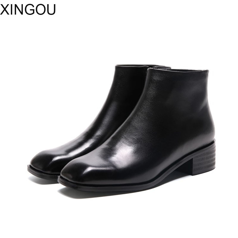 XINGOU Genuine Leather women's boots Fashion 2018 women Chelsea Boots solid Martin boot Female Square Toe Ankle women's Boots new arrival superstar genuine leather chelsea boots women round toe solid thick heel runway model nude zipper mid calf boots l63
