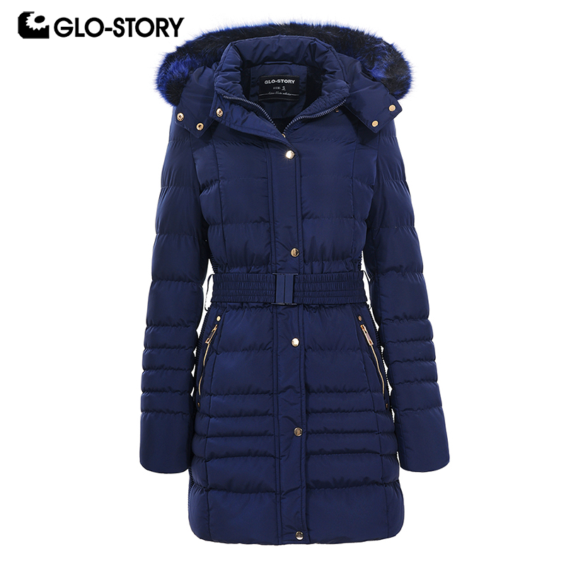 GLO STORY ผู้หญิง 2019 ฤดูหนาวเสื้อแจ็คเก็ตและเสื้อโค้ทสตรีหนาอบอุ่น Parkas ปรับเข็มขัดเอวและขนสัตว์ Hoodie WMA 4731-ใน เสื้อกันลม จาก เสื้อผ้าสตรี บน   1