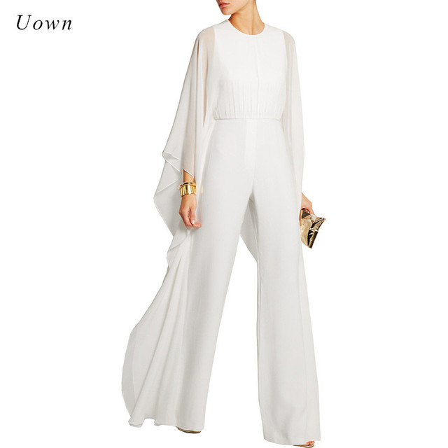 ab526593663 Women Jumpsuits Long Pants Romper Chiffon Ruffle Flare Long Sleeve Party  Jumpsuits Black White Wide Leg Jumpsuit Evening Outfits