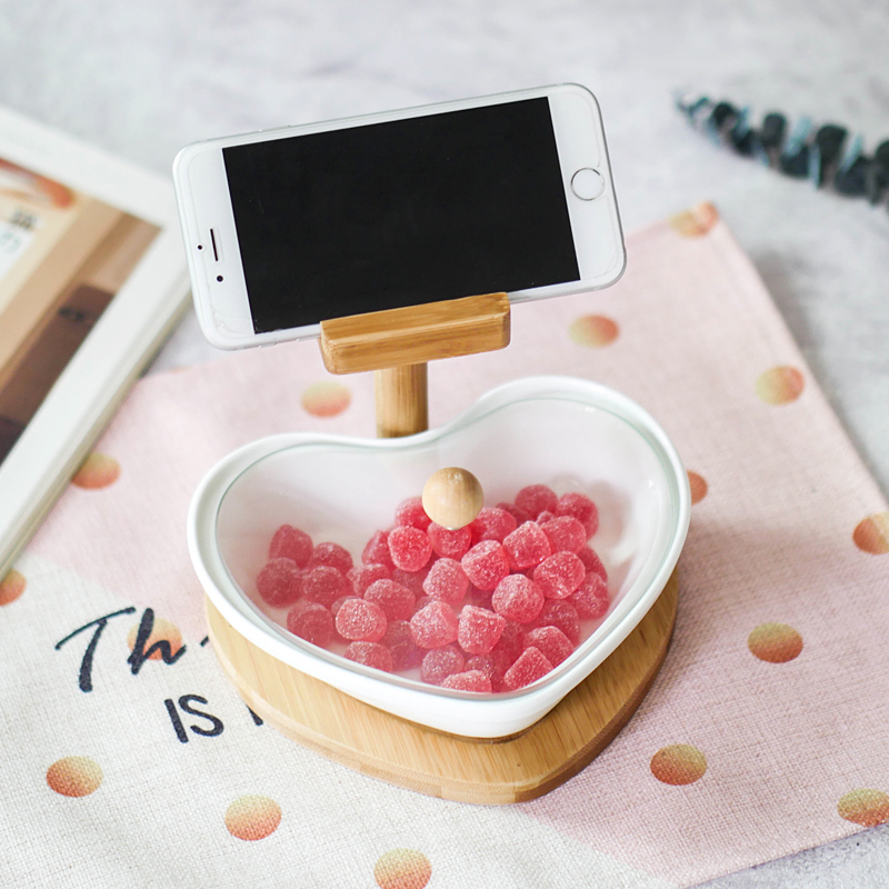Ceramics + Wood love shape salad bowl with phone holder 2