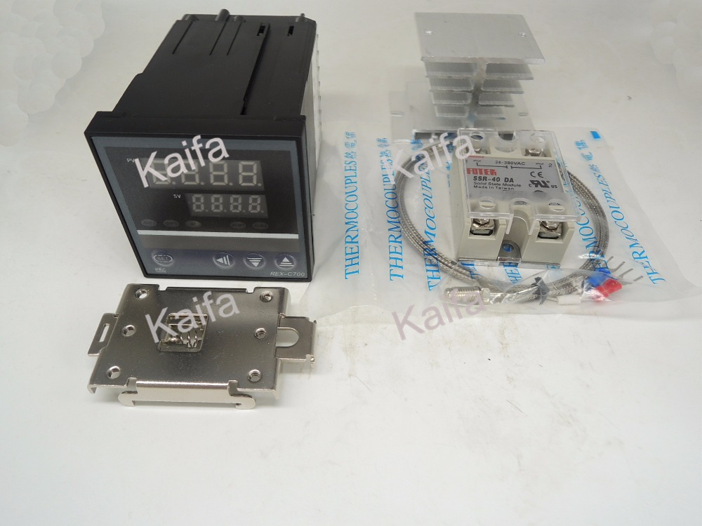 DigitalPIDTemperature Controller Thermostat REX-C700  + 1M K Thermocouple Probe+SSR40DA+ Radiator+Protective Covers + clip clamp