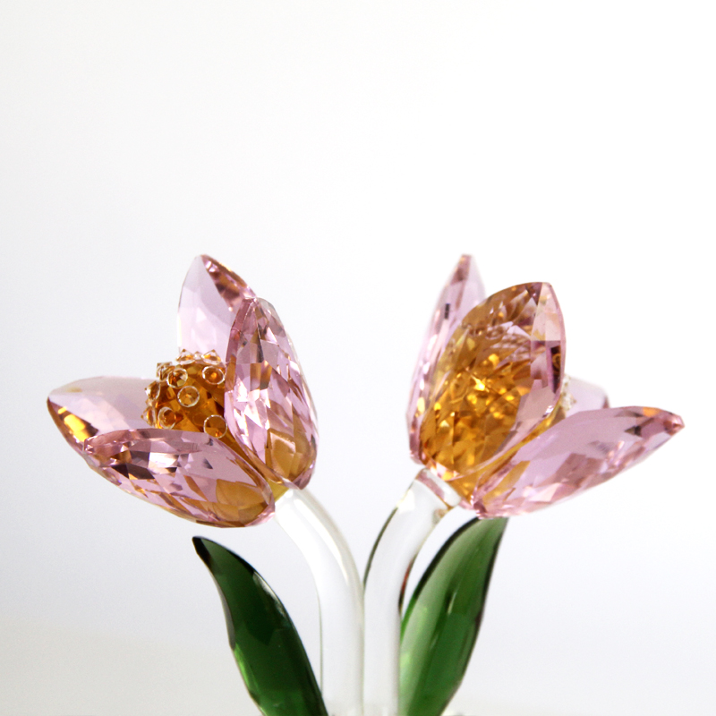 1 pcs Crystal Glass Tulip Flower Figurines Craft Wedding Valentine's Day favors and gifts Souvenir Table Decoration Ornaments - 4
