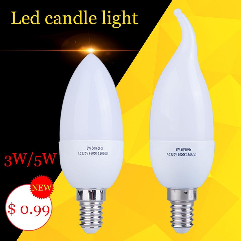 1pcs Led Candle Light Bulb E14 SMD2835 220V Energy Saving Lamp Velas Bombilla Decorativas Home Lighting Led Lamp 220V 3W 5W E14