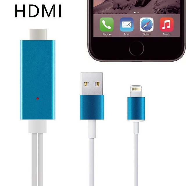 Hight Speed Aluminum 2M 8 Pin to HDMI Cable HDTV AV 1080P USB Cable Adapter Sync For iphone 5 5s 6 6s 7 Plus free shipping