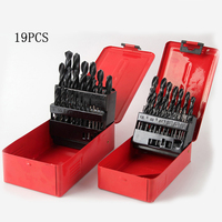 19 Pcs Set 1 10mm Black Twist Drill Set High Quality Spiral Drill Hand Tools High