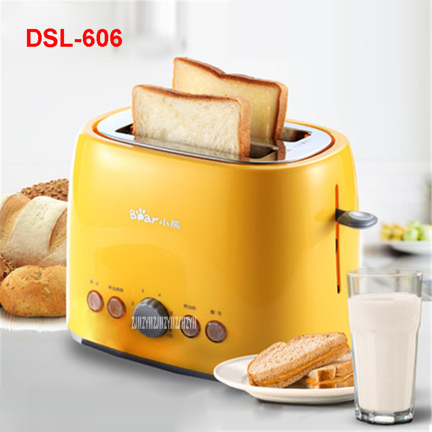 DSL-606 220V/50 Hz Electric Toasters Breakfast Maker Full-automatic 2 pieces Bread Toasting Machine food grade PP Material shell