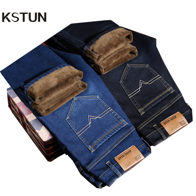 KSTUN Men's   Jeans   2018 Hot Sale Winter Warm Pants Thickness Stretch Heat Insulated Straight Business Casual Male Long Trousers