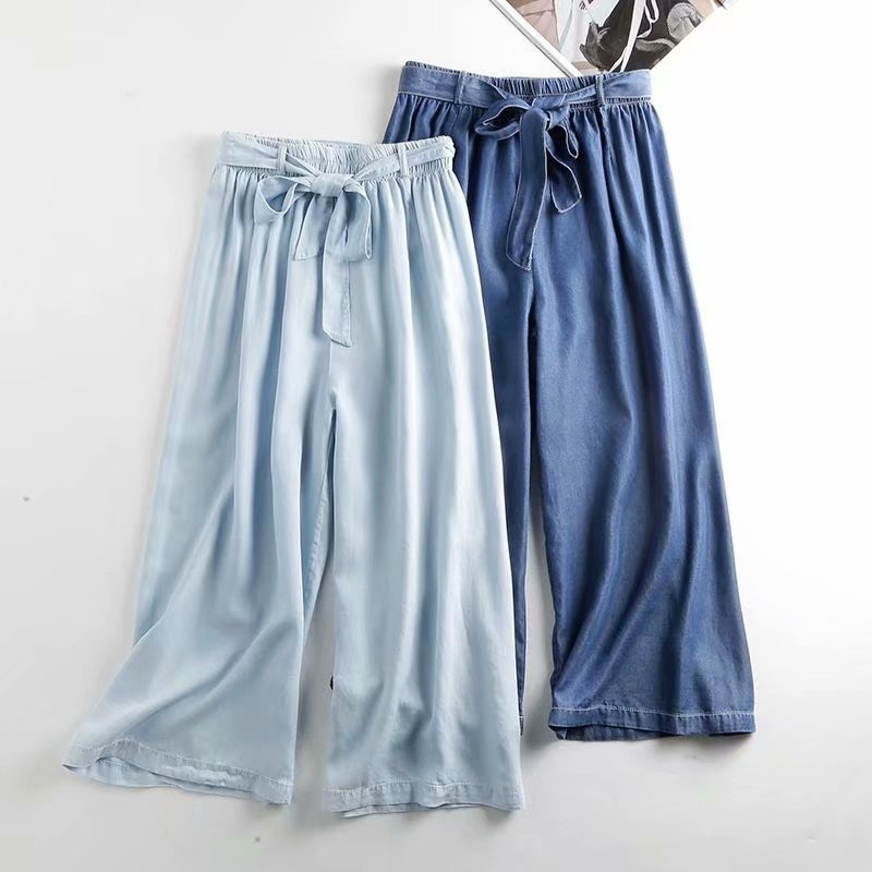 Cowboy solid color   wide     leg     pants   women high waist woman   pants   elastic casual drawstring long Trousers women Summer loose   pants