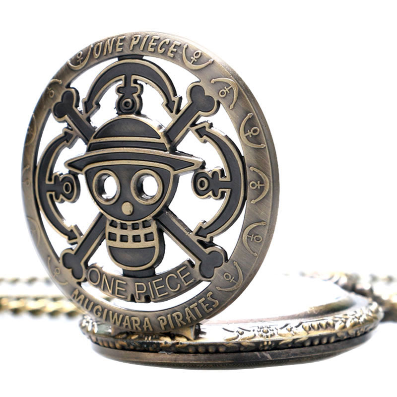 Cute One Piece Monkey Luffy Skull Pirate Anchors Hollow Quartz Pocket Watch With Chain Necklace Pendant Gift For Men Woman Pocket & Fob Watches