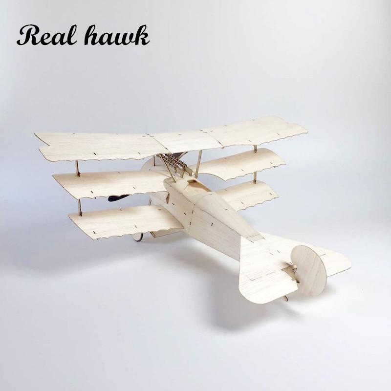 MininimumRC Vliegtuig Laser Cut Balsa Houten Vliegtuig Kit Fokker - Radiografisch bestuurbaar speelgoed