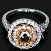 Popularne Rocznika Okrągłe 6mm 18kt Two Tone Diamond Gold Zaręczyny Ustawianie Pierścień SR290