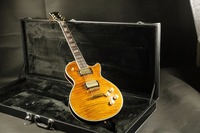 High quality flamed maple top back arched top amber custom Lp guitar electric guitar free shipping