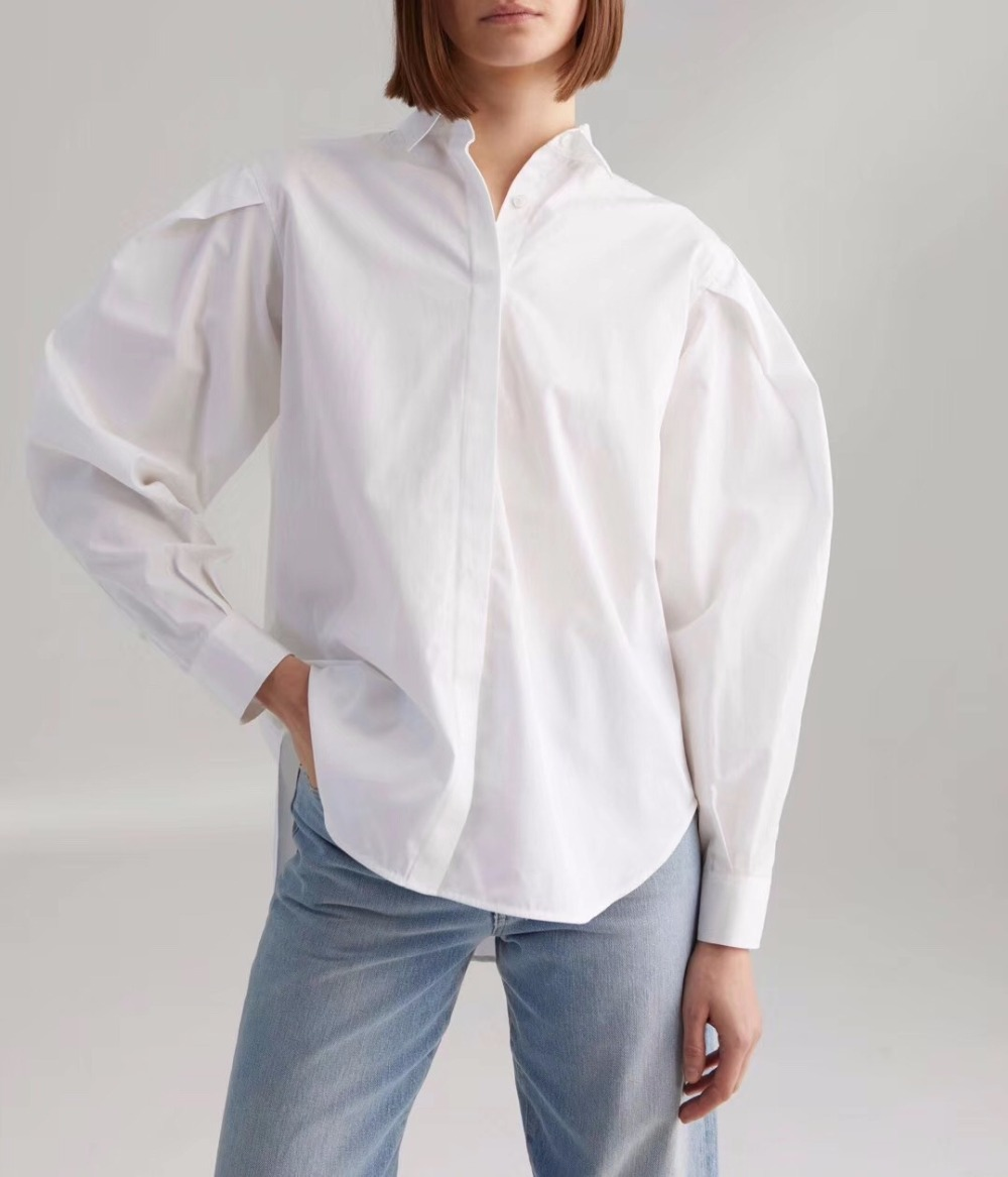 WISHBOP White Priola shirt blue stripe Long Puff sleeves pleated details Collor embroidered Woman Shirts TOP