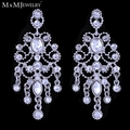 Mecresh AAA Crystal Silver Plated Bridal Brincos Jewelry Chandelier Wedding Drop Earrings for Women EH426