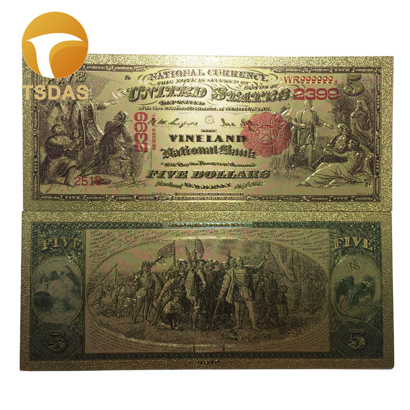 1875 yrs 5 Dollars America GOLD BANKNOTE Collection 999 Gold Foil Banknote For Gifts Home Decoration image