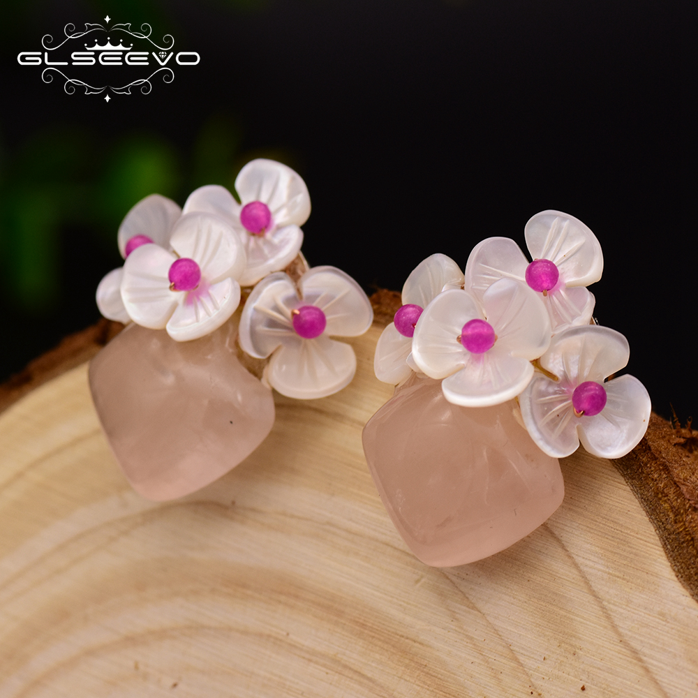 XlentAg Natural Pink Crystal 925 Sterling Silver Stud Earrings For Women Wedding Gifts Shell Flower Earrings Fine Jewelry GE0414