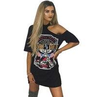 Punk Rock Style 2017 Summer New Fashion Casual Print Women Dress Sexy Off Shoulder Mini Short