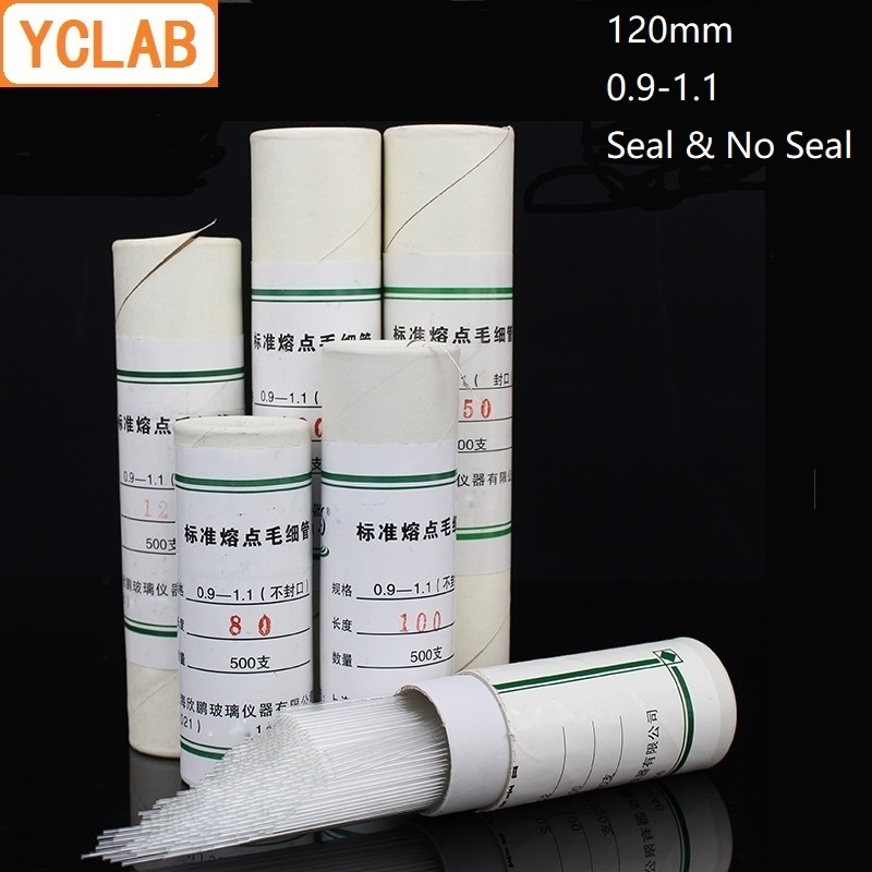 YCLAB 500PCS 120mm Capillary Standard Melting Point Sample Glass Tube Seal & No Seal La Equipment ( Gift A Red Latex Head )