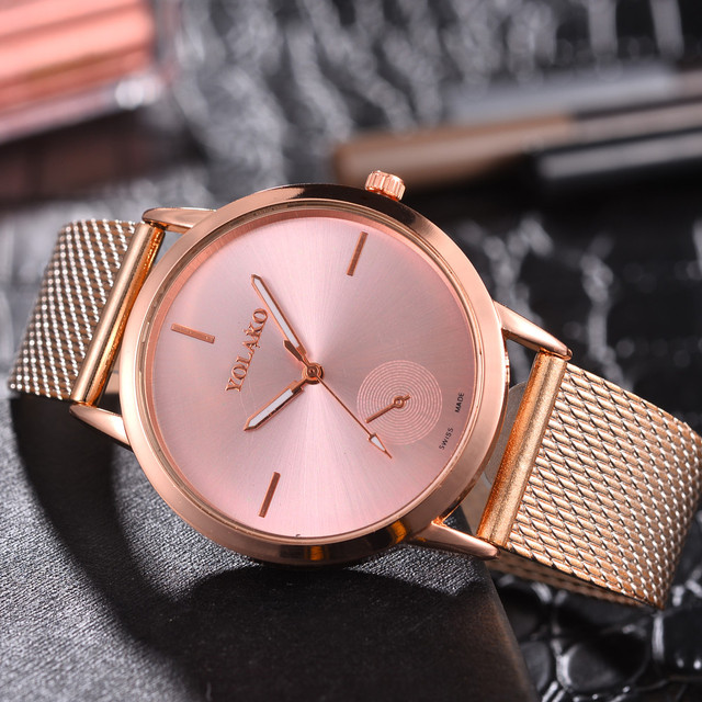 Watch Womens Rose Gold Watches Reloj Mujer Clock Simple Bracelet watch Mesh Stai