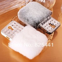 Luxury Women Winter Warm Rabbit Fur Diamond Rhinestone Crystal Case Back Cover For Galaxy S3 S4