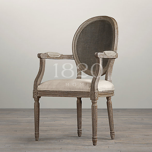 Vintage French Linen Fabrics Imported From Belgium Wood Chairs Carved Oak  Cane Circle Back Armchairs