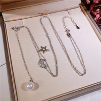 New micro inlaid star moon mother of pearl pearl sweater chain S925 sterling silver long necklace for women