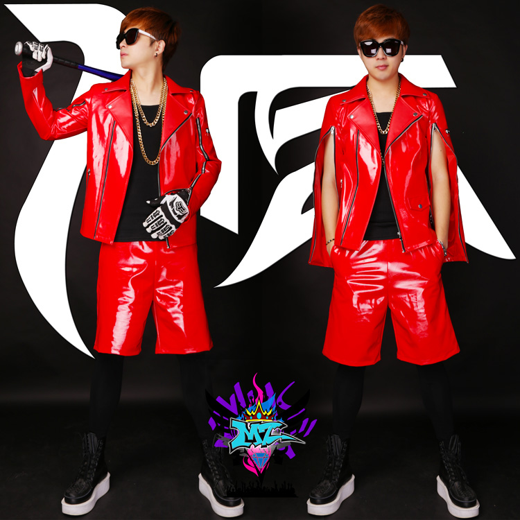 S-5XL! 2019 Men fashion Zipper sleeve red patent leather motorcycle jacket coat Mens singer costumes formal dress clothing