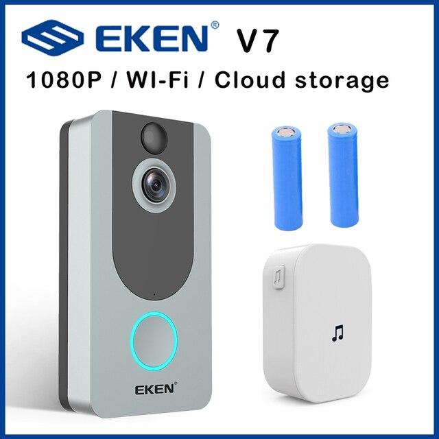 EKEN V7 door bell camera 1080P wifi doorbell IP Smart Wireless Security FIR Motion Detection Alarm Cloud storage house bell