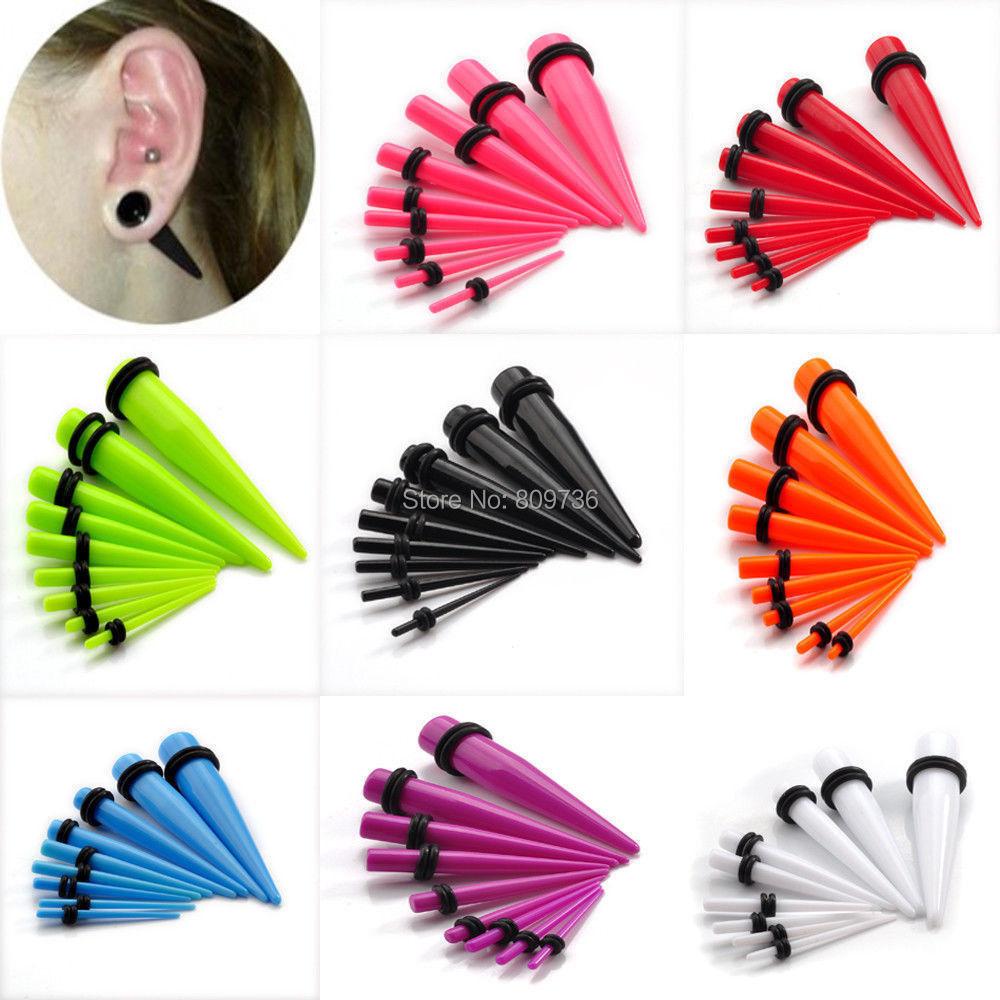 Nº18 unids acrílico oído plug Taper kit Medidores mujeres ear ...