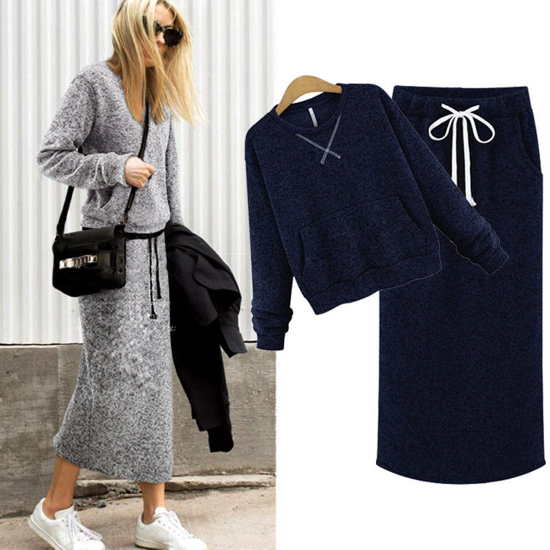 Women Two Piece Set Cashmere Warm Hoodies Tops Pockets Casual Calf-Length Skirt Lace Up Maxi Dresses Elegant Suits Woman Clothes