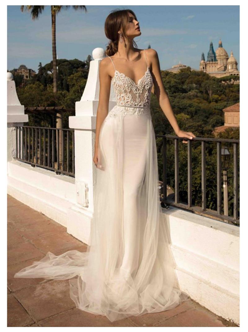 Beach Wedding Dresses Spaghetti Strap Mermaid Bride Dress Backless Princess Long Wedding Gown Boho Bride Dress 2019