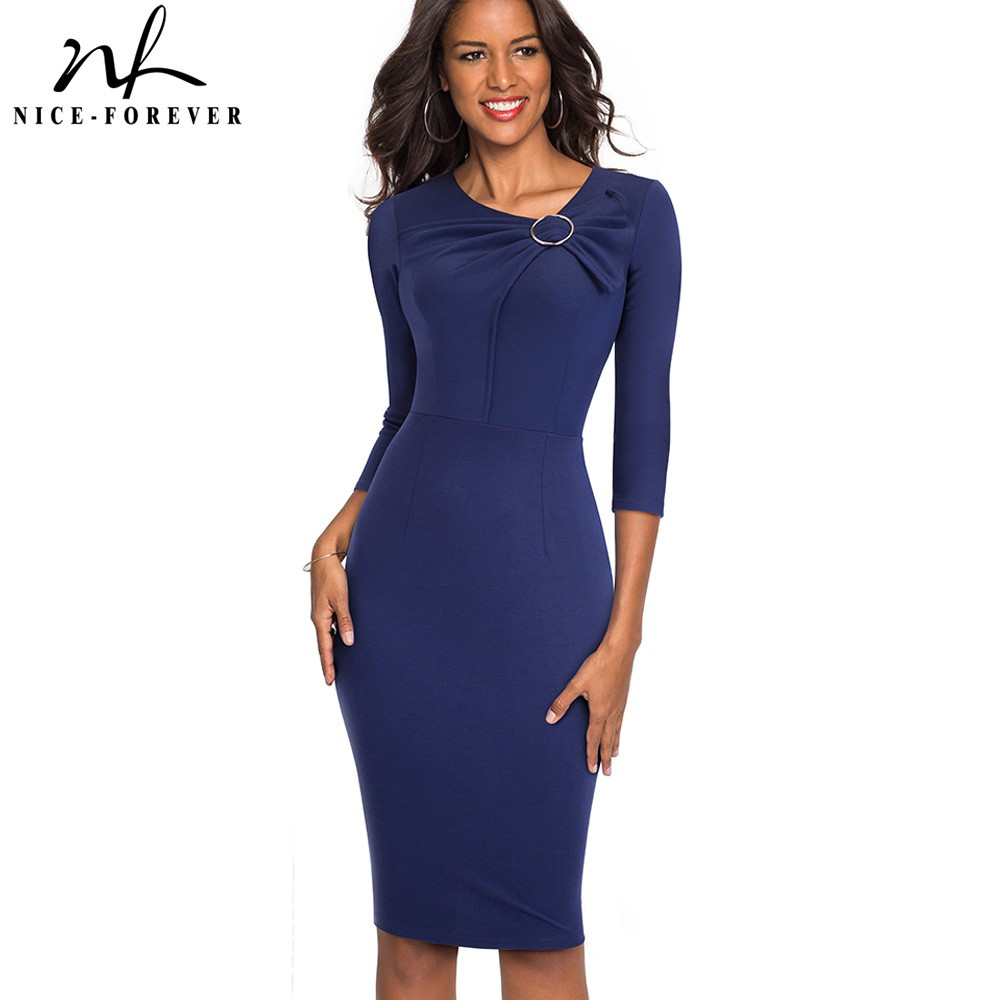 Nice-forever Vintage Elegant Solid Color Wear To Work Bow Vestidos O Neck Business Party Bodycon Office Women Dress B481