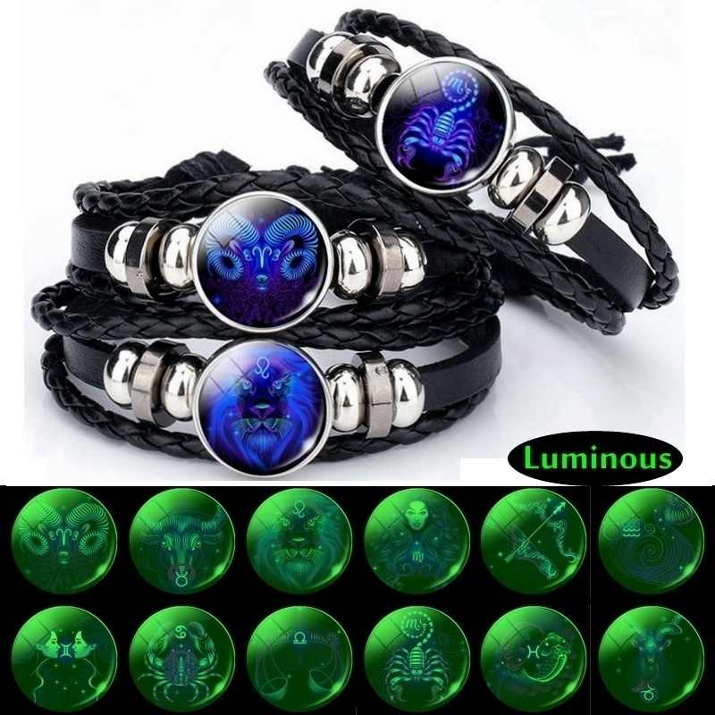 Luminous 12 Zodiac Signs Bracelet Men Women Punk Leather Bracelet Constellation Bracelet Zodiac Jewelry for Birthday Day Gift