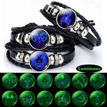 Luminous 12 Zodiac Signs Bracelet Men Women Punk Leather Constellation Jewelry for Birthday Day Gift