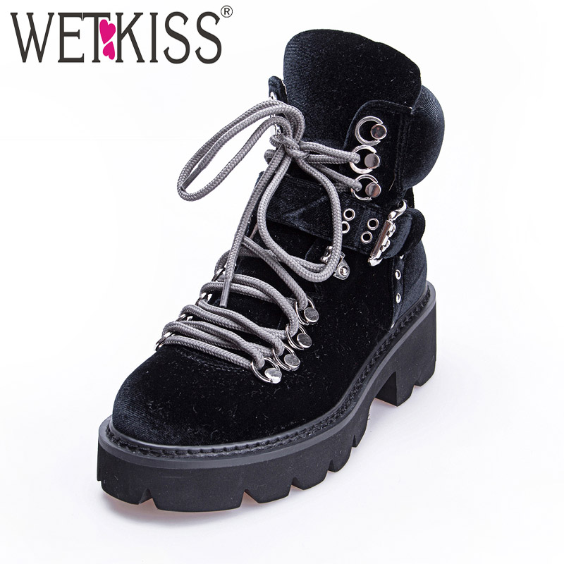 WETKISS Autumn Pleuche Women Ankle Boots Round Toe Footwear High Heels Female Military Boot Cross Tied Platform Shoes Woman New cross back reversible pleuche swimwear