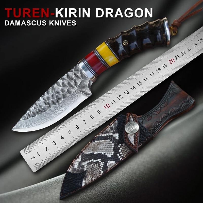 TUREN Damascus Steel Fixed Blade Knife Bovine bone Shofar Handle Outdoor Survival Tools VG10 High Hardness