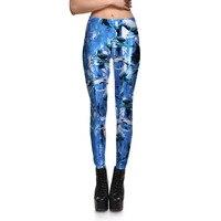 Sexy de Las Nuevas Mujeres de Pantalones Para Mujer Pantalones De Moda Blue dolphin 3D Digital Impreso Pant Capris Lindo Gimnasio Leggings 3D