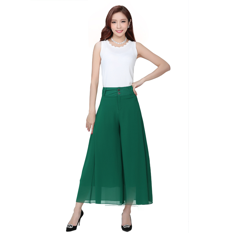 New Plus size Summer fashion Women solid Chiffon Wide Leg   pants   Loose Dress   Pants   Female Casual Skirt Trousers   Capris   Culottes