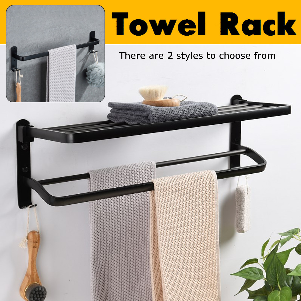 60cm Black Alumimum Foldable Towel Rack Holder Towel Shelf Wall Mounted Bathroom Towel Rack Storage Hanger Shelf