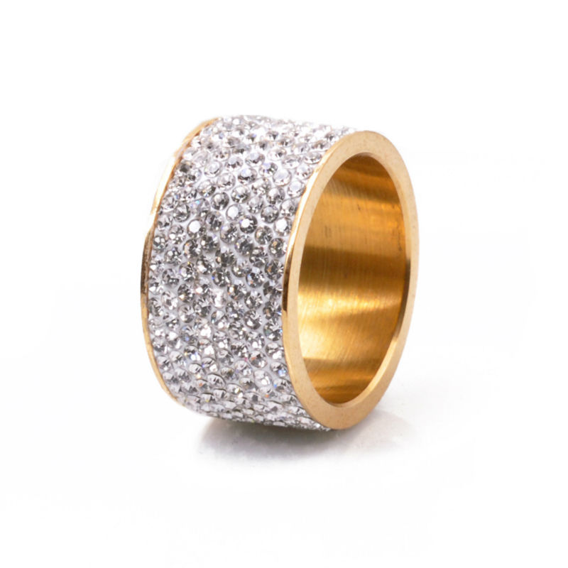 Fashion New Wholesale stainless steel ring for woman & man luxurious paragraph Crystal Jewelry Gold Plated
