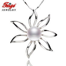 Big Flower-shaped Genuine 925 Silver Pendant Necklaces For Women's 12-13mm White Natural Freshwater Pearls Fine Jewelry By FEIGE flower shaped genuine 925 silver pendant necklaces for women s 9 10mm white natural freshwater pearls fine jewelry
