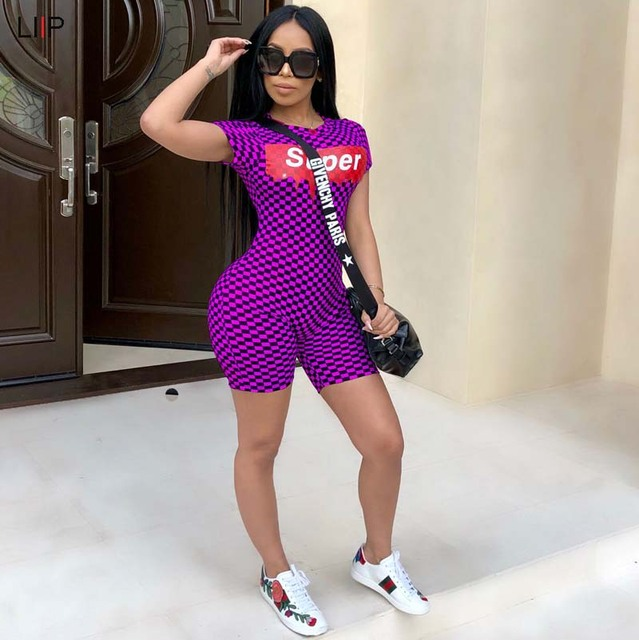 5ad72b3a145e plus size summer 2018 sexy plaid bodycon playsuit tracksuit rompers womens  jumpsuits LIIP body feminino overalls SJ3114