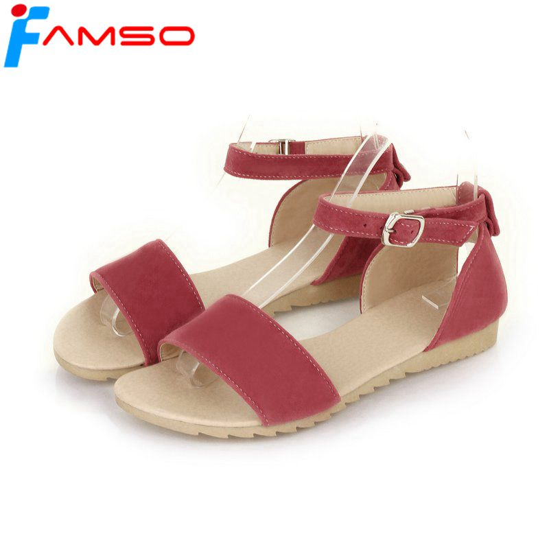Famso Size34 43 2018 New Women Sandals Black Red Summer -5694