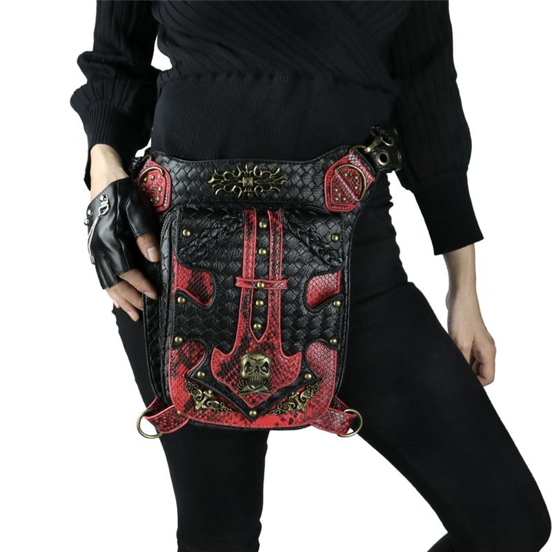Punk crâne taille sacs hommes Vintage moto jambe sac rouge noir en cuir Rivets Messenger sac Vintage mode Rock femmes sacs-in Bandoulière Sacs from Baggages et sacs    2