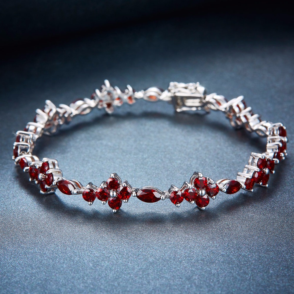 Hutang 10.4Ct Natural Garnet Solid 925 Sterling Silver Tennis Bracelet for women's Gemstone Fine Jewelry Accessories 7.25