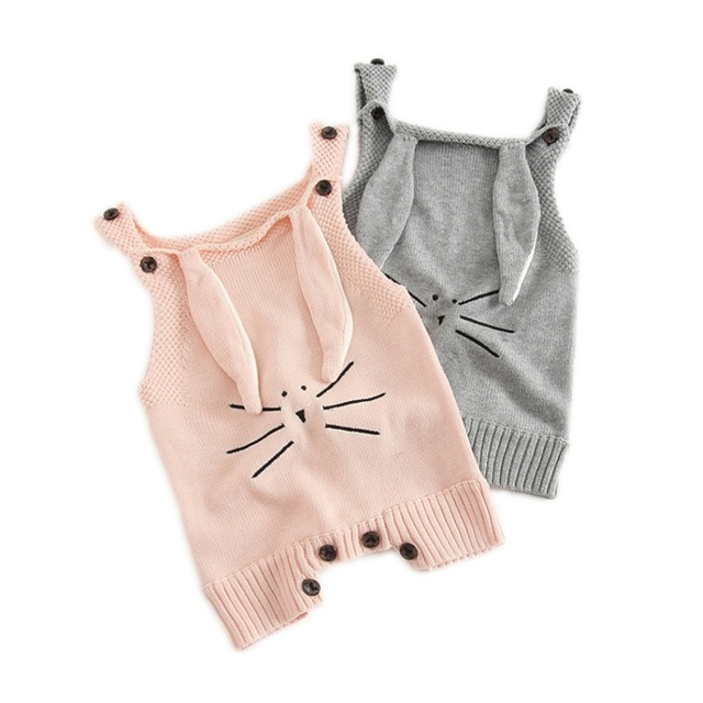 cfede266e Newborn Jumpsuit Toddler Baby Boys Girls Bunny Bodysuit One-pieces Outfits  Set 0-24M baby knitted cartoon Rabbit overalls