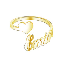 Custom One Name with one heart Couple Rings For Lovers Double layer Gold Woman Best Friends Wedding Band