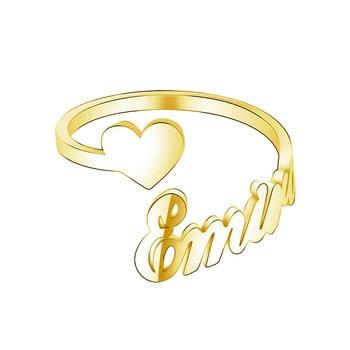 цена Custom One Name with one heart Couple Rings For Lovers Custom Double layer Gold Rings For Woman Best Friends Wedding Band онлайн в 2017 году
