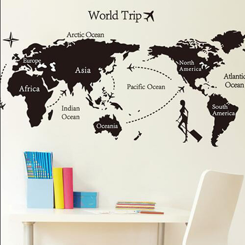 world trip map removable vinyl quote art diy 6090cm wall sticker decal mural room decor adhesivos pared stencils for walls in wall stickers from home